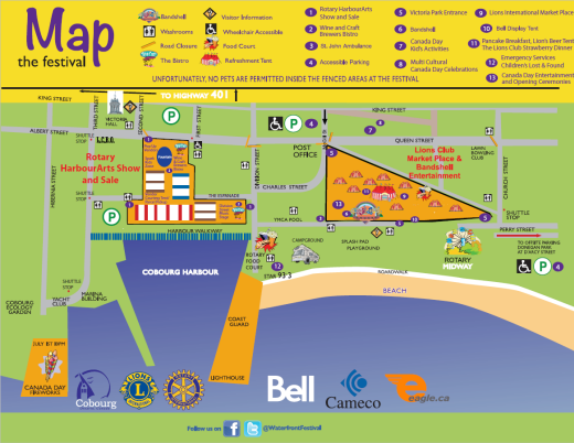 2019 Cobourg Waterfront Festival map